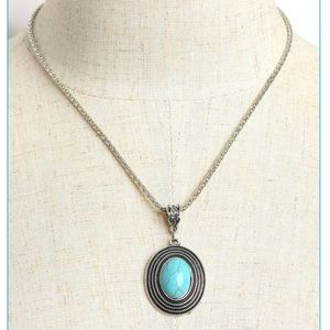Beautiful Silver Necklace with Turquoise Pendant